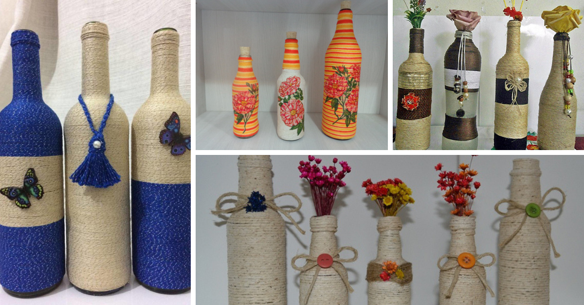 diy bottle ideas with yarn