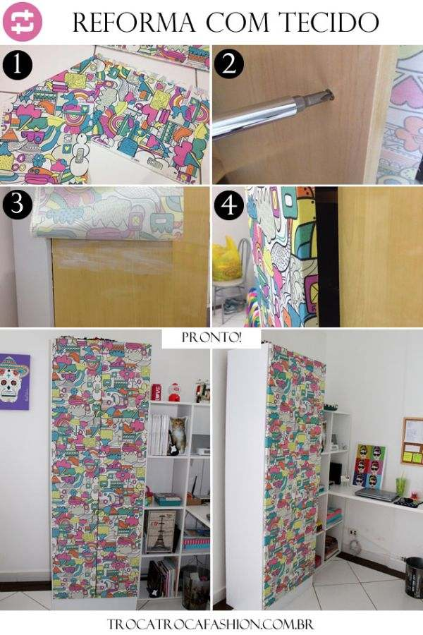 ecycling antique wardrobe with fabric 10