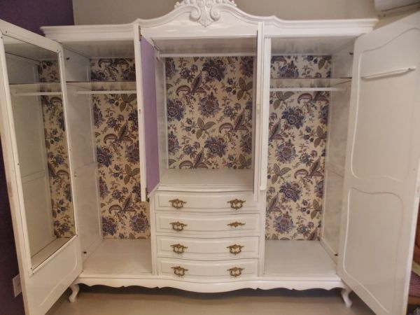 ecycling antique wardrobe with fabric 19