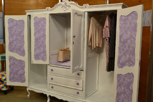 ecycling antique wardrobe with fabric 2