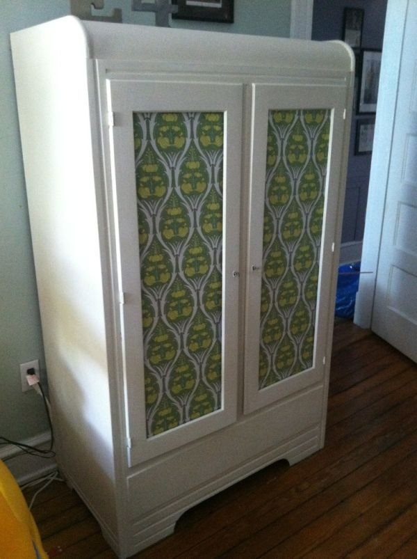 ecycling antique wardrobe with fabric 3