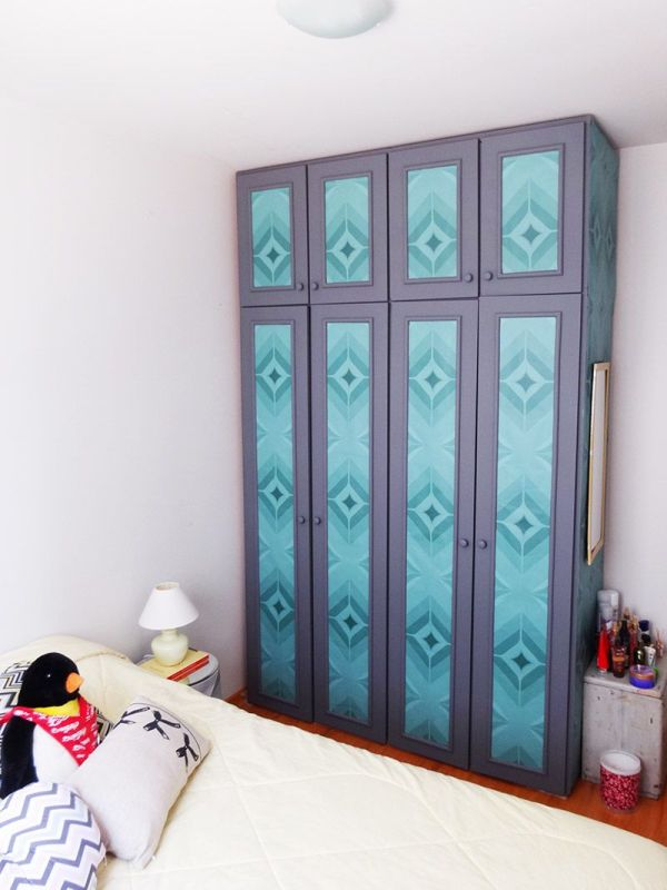 ecycling antique wardrobe with fabric 7