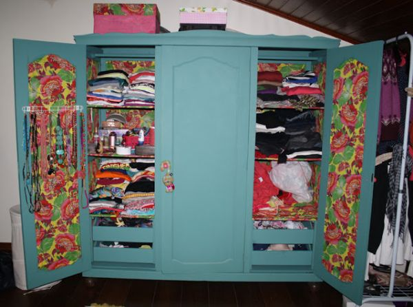 ecycling antique wardrobe with fabric 9